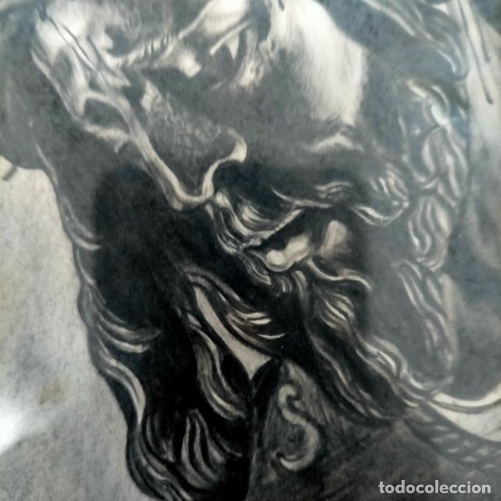 Arte: 1968 dibujo a lapiz carboncilla carboncillo cristo del gran poder semana santa sevilla marco madera - Foto 2 - 259249180
