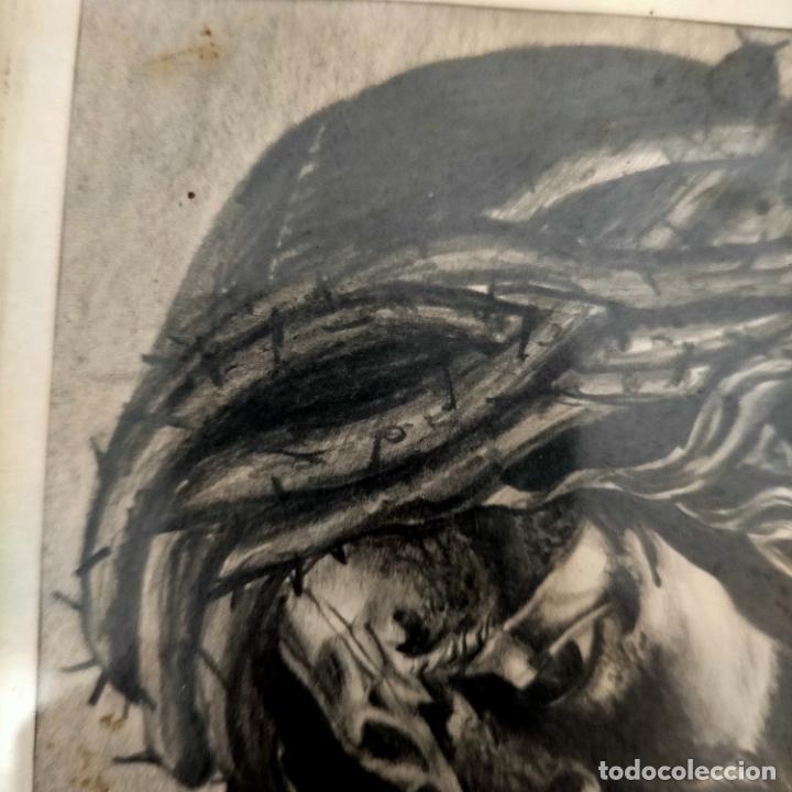 Arte: 1968 dibujo a lapiz carboncilla carboncillo cristo del gran poder semana santa sevilla marco madera - Foto 3 - 259249180