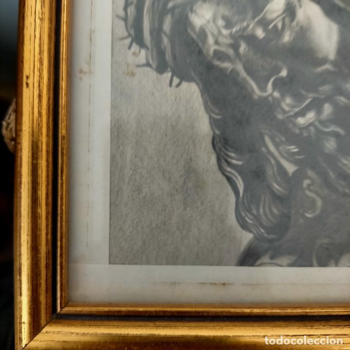 Arte: 1968 dibujo a lapiz carboncilla carboncillo cristo del gran poder semana santa sevilla marco madera - Foto 4 - 259249180