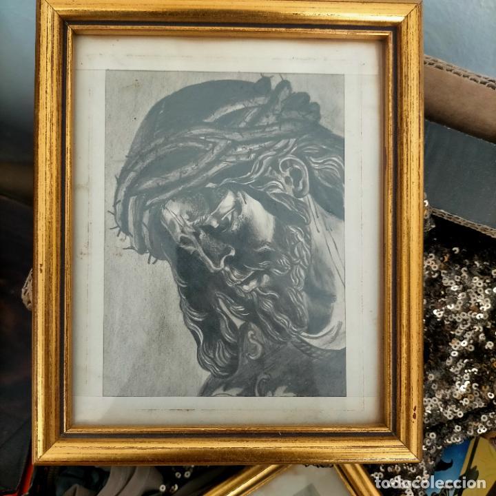 Arte: 1968 dibujo a lapiz carboncilla carboncillo cristo del gran poder semana santa sevilla marco madera - Foto 5 - 259249180