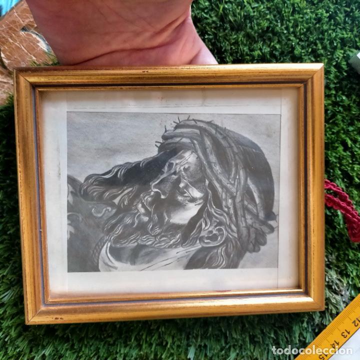 Arte: 1968 dibujo a lapiz carboncilla carboncillo cristo del gran poder semana santa sevilla marco madera - Foto 7 - 259249180