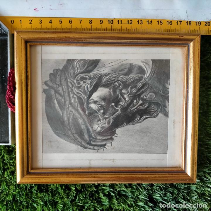Arte: 1968 dibujo a lapiz carboncilla carboncillo cristo del gran poder semana santa sevilla marco madera - Foto 10 - 259249180