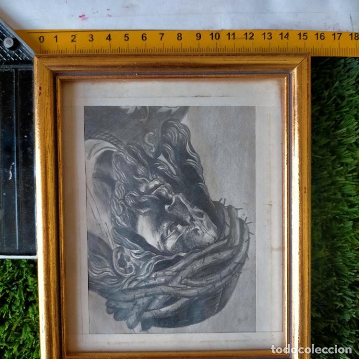 Arte: 1968 dibujo a lapiz carboncilla carboncillo cristo del gran poder semana santa sevilla marco madera - Foto 15 - 259249180