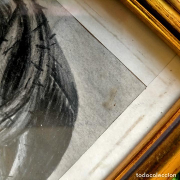 Arte: 1968 dibujo a lapiz carboncilla carboncillo cristo del gran poder semana santa sevilla marco madera - Foto 16 - 259249180