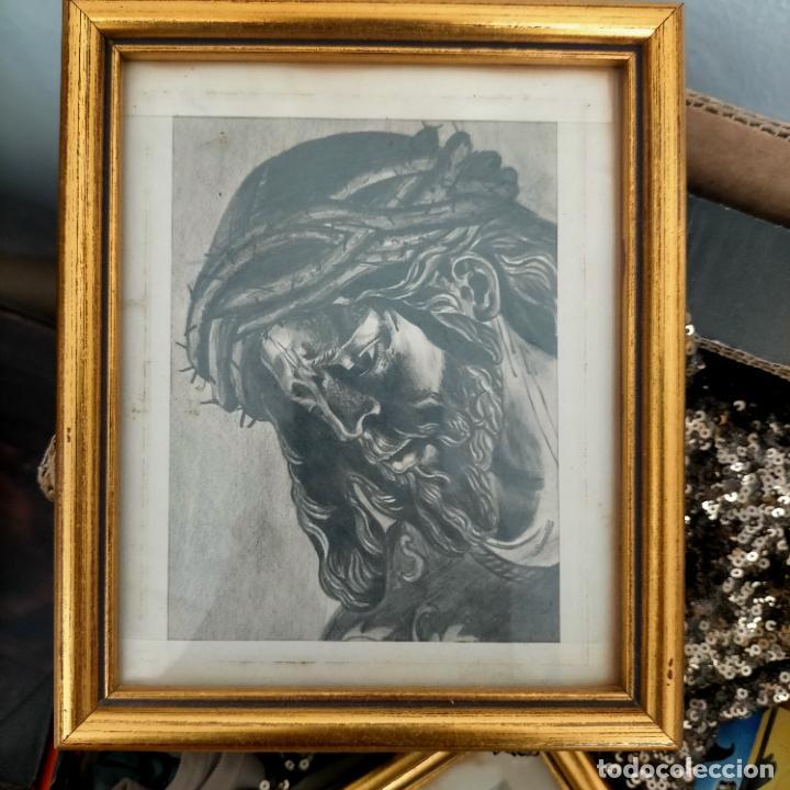1968 DIBUJO A LAPIZ CARBONCILLA CARBONCILLO CRISTO DEL GRAN PODER SEMANA SANTA SEVILLA MARCO MADERA (Arte - Arte Religioso - Pintura Religiosa - Otros)