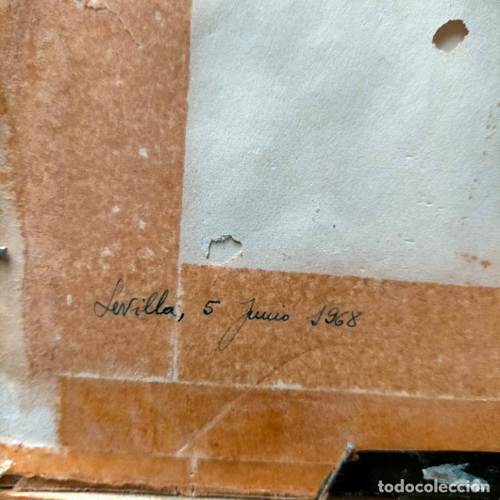 Arte: 1968 dibujo lapiz carboncilla carboncillo cristo JESUS DE PASION semana santa sevilla marco madera - Foto 4 - 259251115