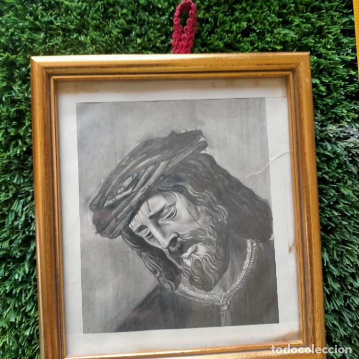 Arte: 1968 dibujo lapiz carboncilla carboncillo cristo JESUS DE PASION semana santa sevilla marco madera - Foto 5 - 259251115