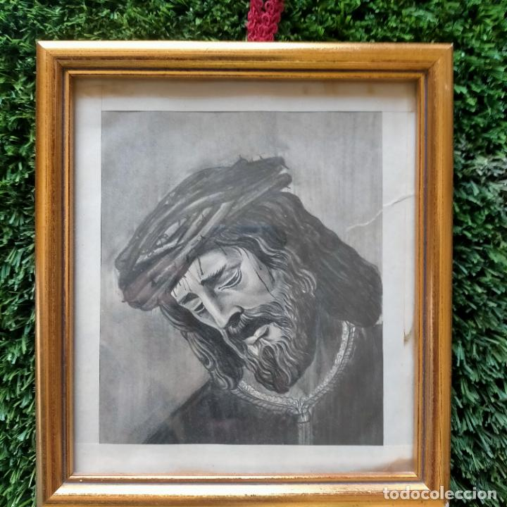 Arte: 1968 dibujo lapiz carboncilla carboncillo cristo JESUS DE PASION semana santa sevilla marco madera - Foto 7 - 259251115