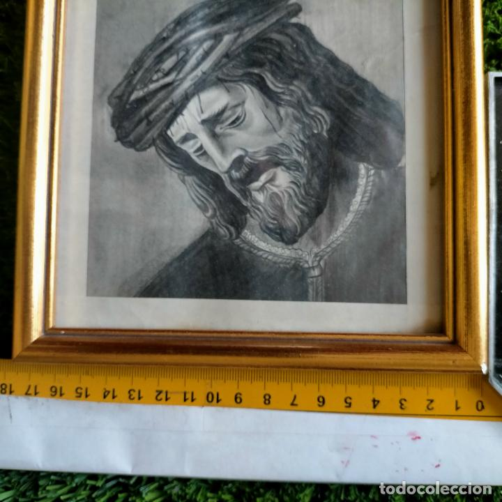 Arte: 1968 dibujo lapiz carboncilla carboncillo cristo JESUS DE PASION semana santa sevilla marco madera - Foto 9 - 259251115