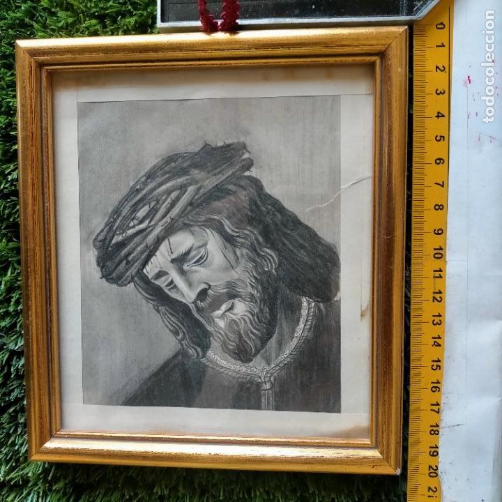 1968 DIBUJO LAPIZ CARBONCILLA CARBONCILLO CRISTO JESUS DE PASION SEMANA SANTA SEVILLA MARCO MADERA (Arte - Arte Religioso - Pintura Religiosa - Otros)