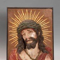 Arte: LOS HERMANOS GARCÍA JERÓNIMO FRANCISCO Y MIGUEL JERÓNIMO GARCÍA ECCE HOMO TERRACOTA POLICROMADA. Lote 259707625