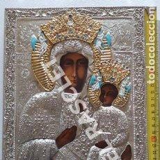 Arte: PRECIOSO ICONO DE LA VIRGEN CON EL NIÑO - PINTADO OLEO RECUBIERTO DE METAL PLATEADO Y DORADO. Lote 260390455
