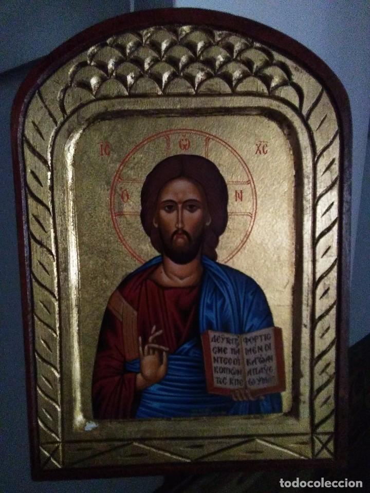 Arte: Icono griego Pantocrátor / pintado a mano - Foto 2 - 260551730