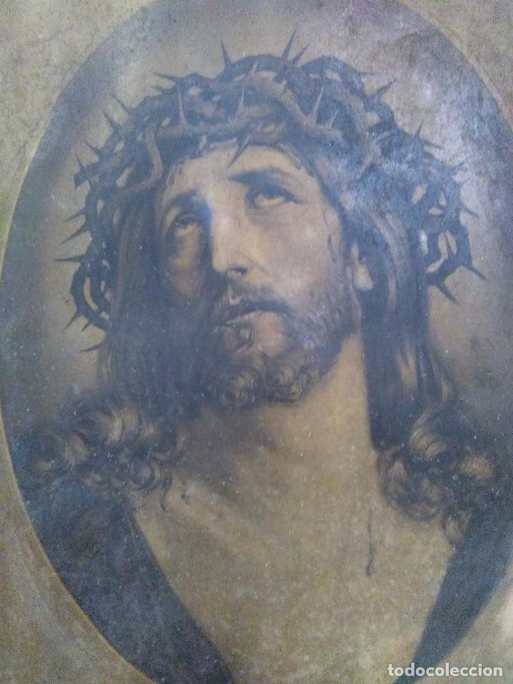 ECCE HOMO / MUY ANTIGUA LITOGRAFÍA / SIGUIENDO MODELO DE GUIDO RENI (Arte - Arte Religioso - Litografías)