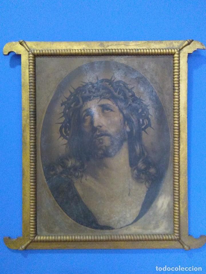Arte: Ecce Homo / muy antigua litografía / Siguiendo modelo de Guido Reni - Foto 2 - 260554540