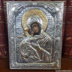 Arte: PRECIOSO ICONO EN PLATA DE LEY REPUJADA A MANO 23,5 CM X 18,5 CM. Lote 260634150