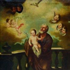 Arte: SAN JOSÉ CON NIÑO JESÚS. ANÓNIMO. ÓLEO SOBRE LIENZO. ESPAÑA. SIGLO XVIII. Lote 260655420