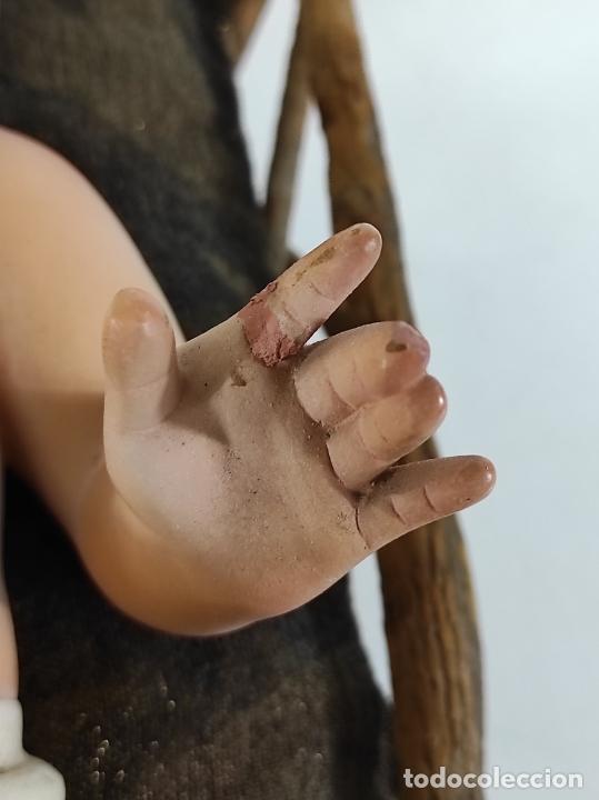 Arte: Niño Jesús con Cuna - Estuco Policromado - Sello Dimosa, Olot - Altura Niño 35 cm - Foto 8 - 260733320