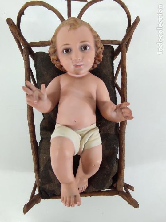 Arte: Niño Jesús con Cuna - Estuco Policromado - Sello Dimosa, Olot - Altura Niño 35 cm - Foto 28 - 260733320