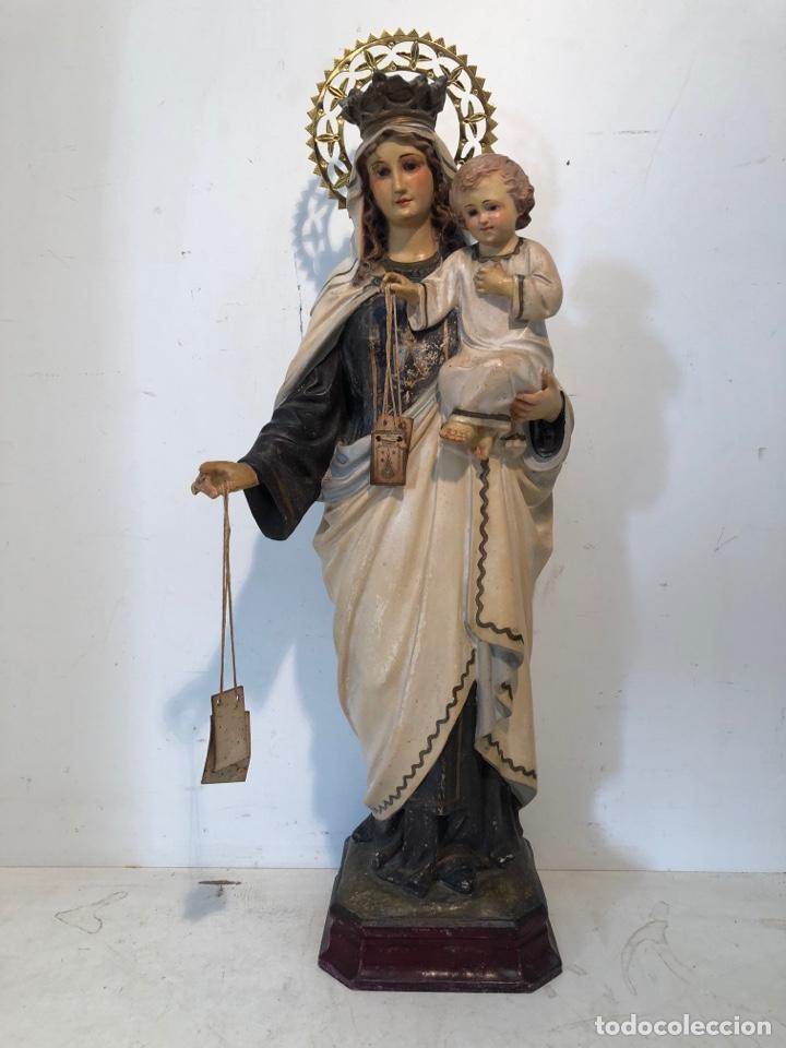VIRGEN DEL CARMEN ANTIGUA, SELLO LAS ARTE OLOTENSE OLOT. 46CM. (Arte - Arte Religioso - Escultura)