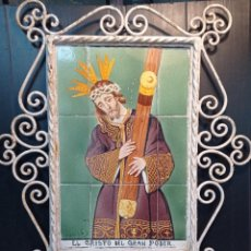Arte: VICENTE ABAD , ANTIGUA PINTURA RELIGIOSA, SOBRE AZULEJOS CRISTO DEL GAN PODER, DEL PRESTIGIOSO ARTI. Lote 261184760