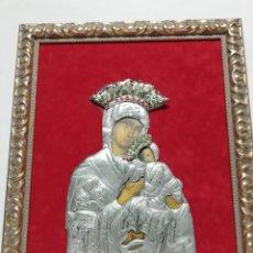 Arte: ICONO EN ESTAÑO DE LA VIRGEN DEL PERPETUO SOCORRO. CUADRO ENMARCADO. ARTESANAL.. Lote 261285470