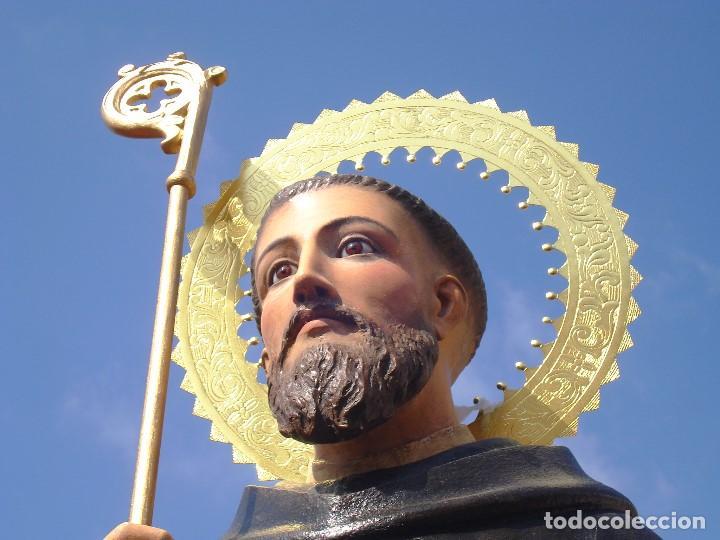 EXTRAORDINARIO SAN BENITO DE NURSIA TALLA DE MADERA ESCUELA ESPAÑOLA SXIX (Arte - Arte Religioso - Escultura)