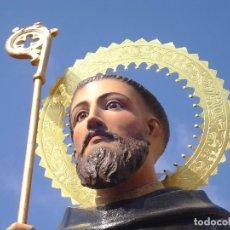 Arte: EXTRAORDINARIO SAN BENITO DE NURSIA TALLA DE MADERA ESCUELA ESPAÑOLA SXIX. Lote 261338305