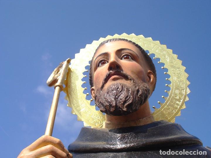Arte: EXTRAORDINARIO SAN BENITO DE NURSIA TALLA DE MADERA ESCUELA ESPAÑOLA SXIX - Foto 5 - 261338305