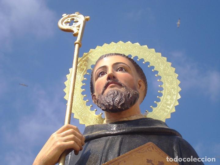 Arte: EXTRAORDINARIO SAN BENITO DE NURSIA TALLA DE MADERA ESCUELA ESPAÑOLA SXIX - Foto 14 - 261338305