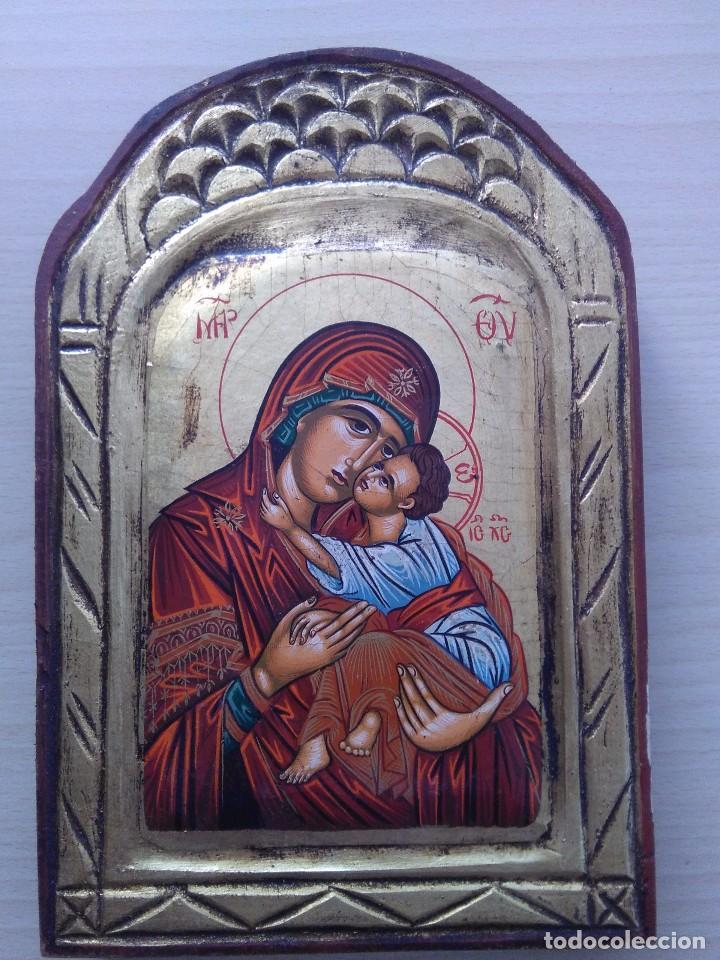 Arte: Virgen con niño / Icono original / pintado a mano - Foto 3 - 261670615