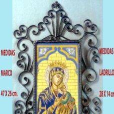 Arte: VIRGEN NTRA, SRA, DEL PERPETUO SOCORRO SOBRE LADRILLO TRAINERO,MARCO Y ENGARCES 47 X 26 CM.SEVILLANO. Lote 262000895