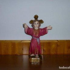 Arte: ANTIGUO NIÑO JESUS - ESTUCO OJOS DE CRISTAL.51 CM.. Lote 262079100
