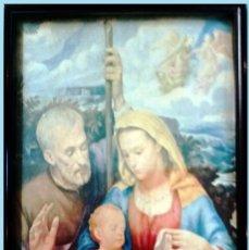 Arte: LITOGRAFIA DE LA SAGRADA FAMILIA ENMARCADO Y CRISTAL DECORATIVO. MEDIDAS 29 X 23 CM.. Lote 262105455