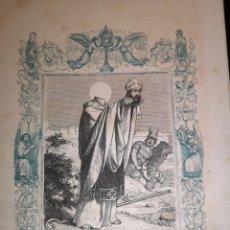 Arte: GRABADO RELIGIOSO - SAN LAUREANO - ARZOBISPO SEVILLA - AÑO 1852 - AÑO CRISTIANO - 17.50 X 26 CM. Lote 262391355
