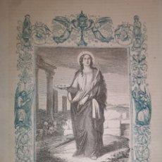 Arte: GRABADO RELIGIOSO - SANTA LUCÍA - AÑO 1852 - AÑO CRISTIANO - 17.50 X 26 CM - IMAGEN 12 X 17 CM. Lote 262393780