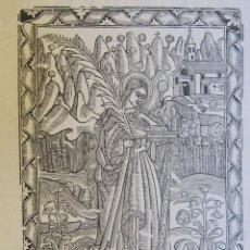 """Arte: ANTIGUA XILOGRAFIA """"SANTA QUITERIA. VERGE Y MARTIR"""". 30,5 X 21 CM. Lote 262394775"""