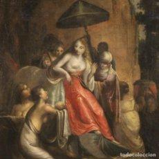 Arte: PINTURA BÍBLICA ITALIANA ANTIGUA EL HALLAZGO DE MOISÉS DEL SIGLO XVIII. Lote 262428100