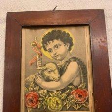 Arte: EL NIÑO SAN JUAN, SAN JUANITO, GRABADO ILUMINADO, 27 X 21. Lote 262449345