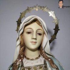 Arte: SAGRADO CORAZÓN DE MARÍA (EL RENACIMIENTO - OLOT) 76 CM - OJOS DE CRISTAL - VIRGEN POLICROMADA. Lote 262465130