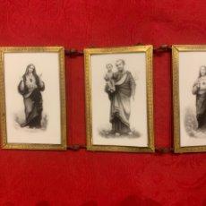 Arte: ANTIQUÍSIMO TRÍPTICO DE OPALINA PINTADO CON SAN JOSÉ, EL SAGRADO CORAZÓN DE JESÚS Y LA VIRGEN.. Lote 262472365