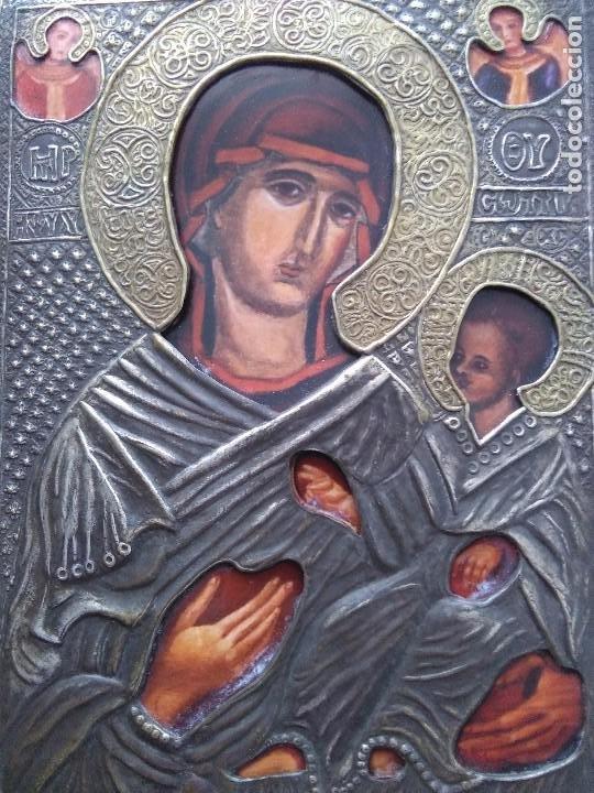ICONO / VIRGEN CON NIÑO / METAL DORADO Y PLATEADO (Arte - Arte Religioso - Iconos)