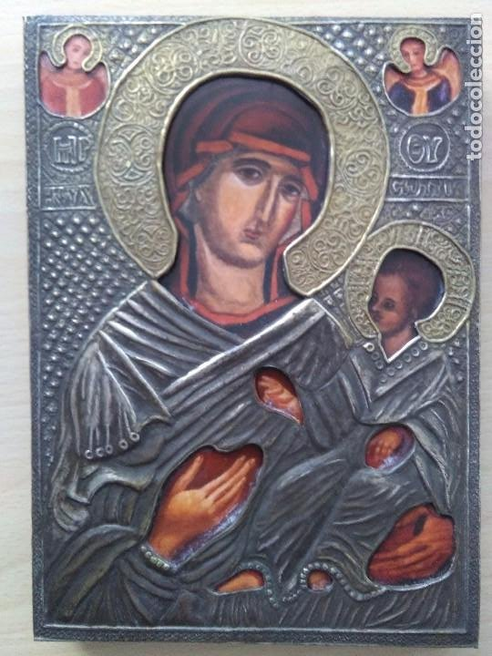 Arte: Icono / Virgen con niño / metal dorado y plateado - Foto 3 - 262485580