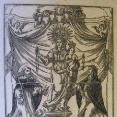 Arte: ANTIGUA XILOGRAFIA NOSTRA SENYORA DEL ROSER. CON SANTO DOMINGO Y SANTA CATALINA DE SIENA. Lote 262563035