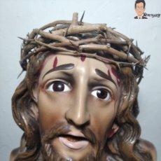 Arte: BUSTO DEL CRISTO DE LIMPIAS (CANTABRIA) OJOS DE CRISTAL - POLICROMADO - CORONA ESPINAS - 34 CM ALTO. Lote 262614865