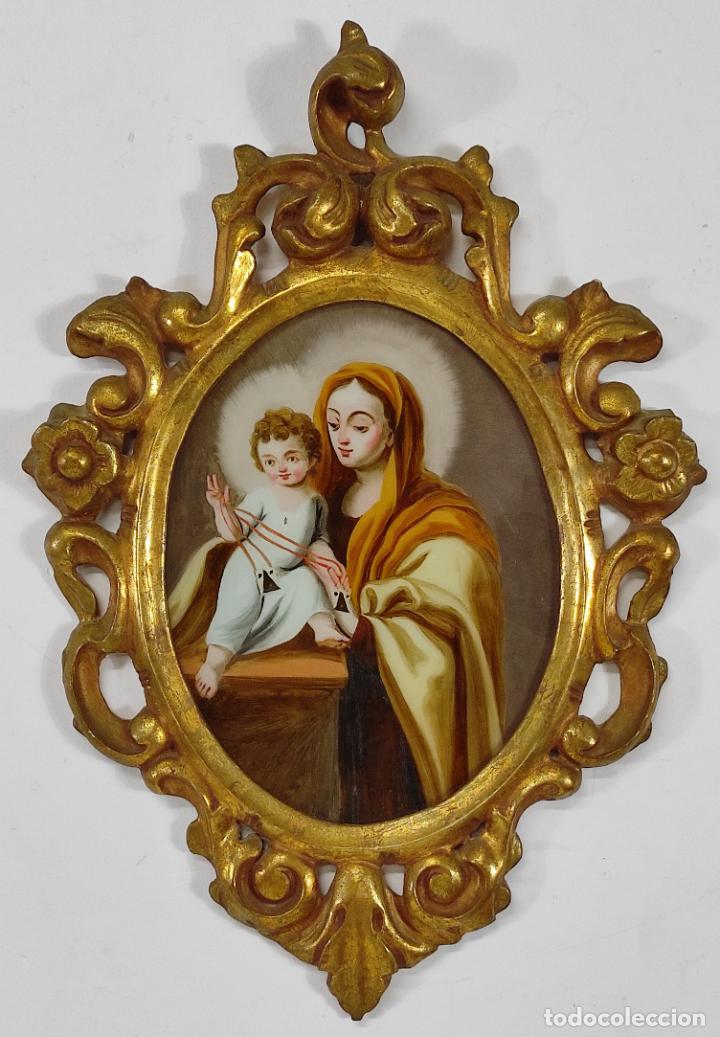 VIRGEN DEL CARMEN - ÓLEO SOBRE CRISTAL - CORNUCOPIA EN TALLA DE MADERA DORADA - S. XVIII (Arte - Arte Religioso - Pintura Religiosa - Otros)