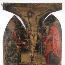 Arte: TRÍPTICO ÓLEO SOBRE LIENZO CRISTO EN LA CRUZ, LA VIRGEN Y SAN JOSÉ SIGLO XVI. Lote 276380348