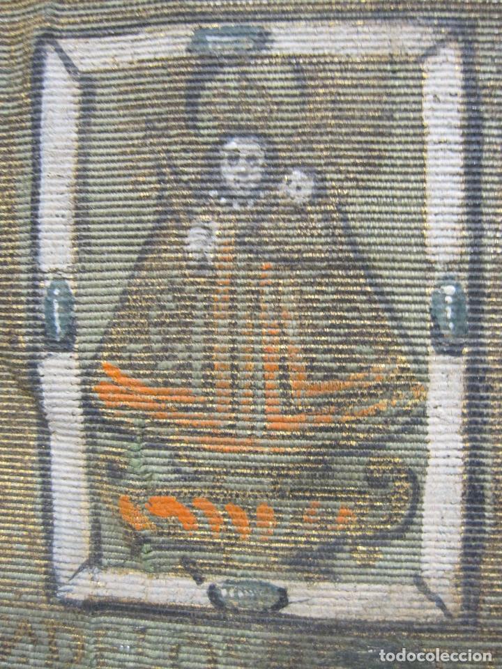 Arte: ANTIGUA PINTURA SOBRE SEDA RAYADA VERDE. IMAGEN DE LA VIRGEN CON EL NIÑO. 13,5 x 9 cm. - Foto 3 - 263140990