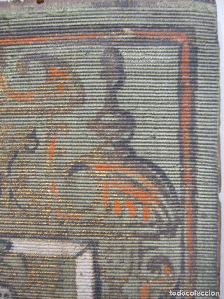 Arte: ANTIGUA PINTURA SOBRE SEDA RAYADA VERDE. IMAGEN DE LA VIRGEN CON EL NIÑO. 13,5 x 9 cm. - Foto 4 - 263140990