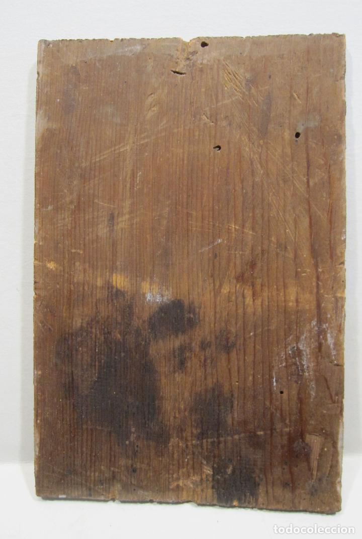 Arte: ANTIGUA PINTURA SOBRE SEDA RAYADA VERDE. IMAGEN DE LA VIRGEN CON EL NIÑO. 13,5 x 9 cm. - Foto 5 - 263140990
